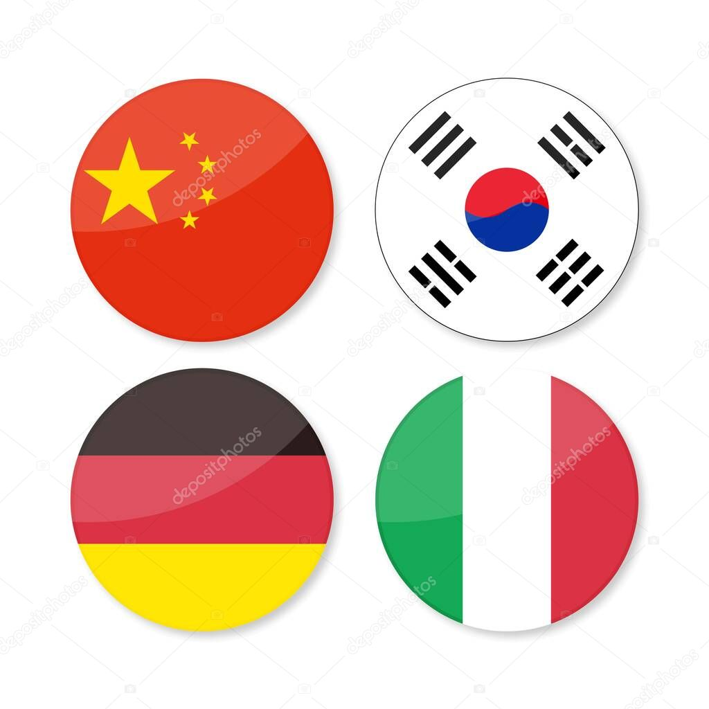 Set Of 4 Flags Round Icons China Korea Germany Italy Premium Vector In Adobe Illustrator Ai Ai Format Encapsulated Postscript Eps Eps Format
