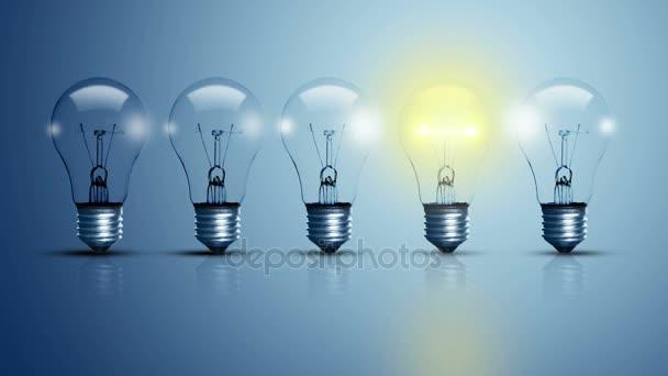 Fünf Glühbirnen, von denen eine leuchtet