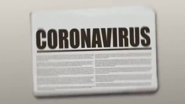 Coronavirus written newspaper animation on a gray background. Newspaper object is spinning and stopping after.