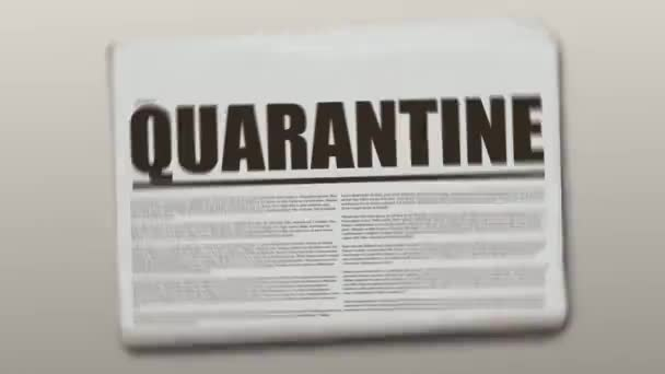 Quarantine written newspaper animation on a gray background. Newspaper object is spinning and stopping after.