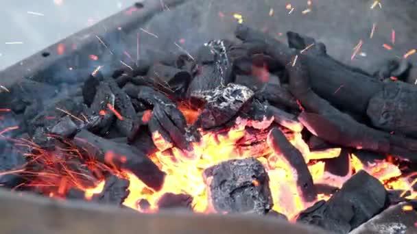 Detailní záběr hořícího dřevěného uhlí v zpomaleném grilování záběry.