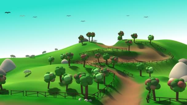 Dies ist ein grüner Hügel Cartoon Hintergrund