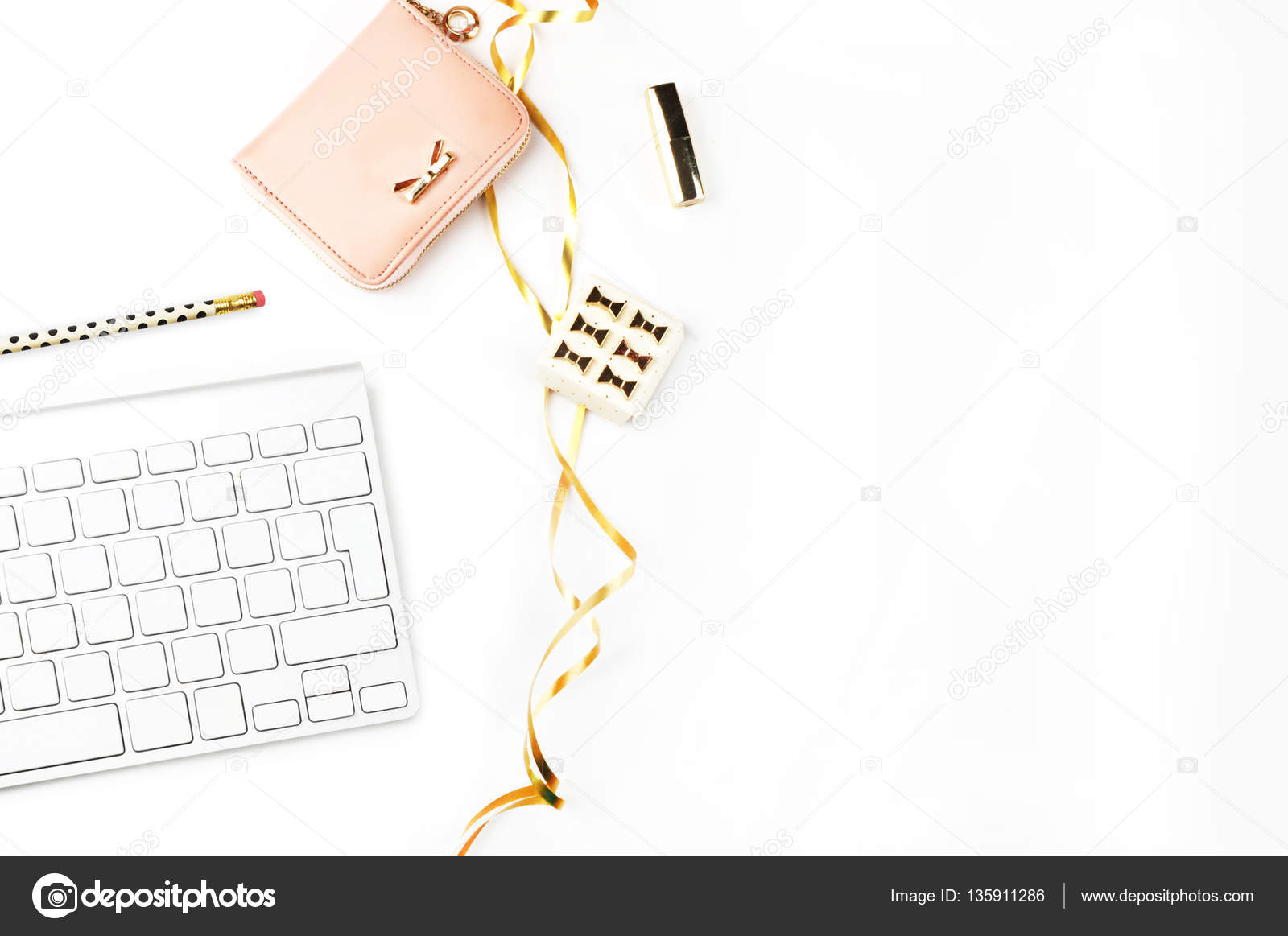 Table view office items, white background mock-up, woman desk ...