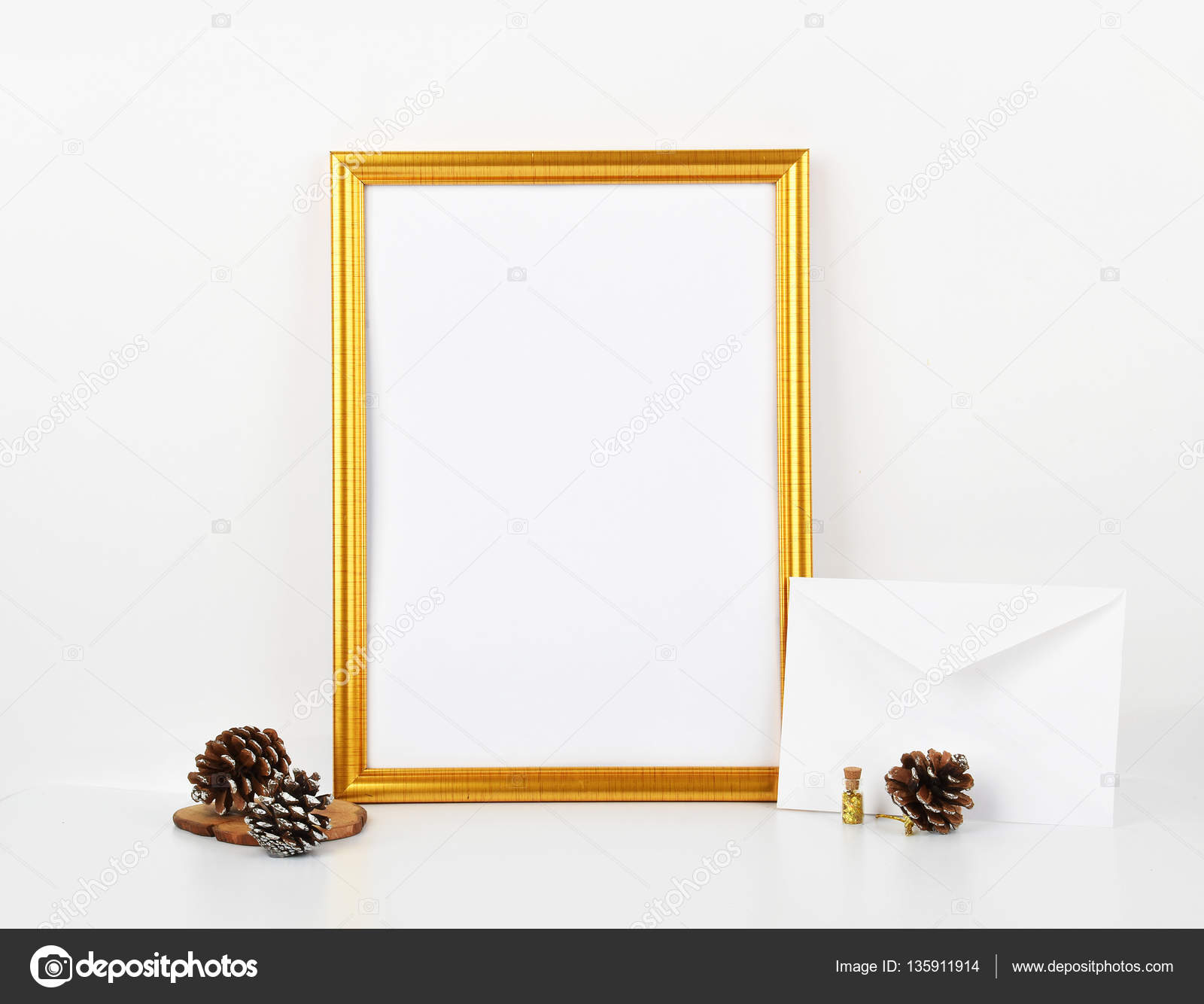 Gold Picture Frame With Decorations Mock Up For Your Photo Or Text Place Work Print Artshabby Style White Background Pastel Color Book By