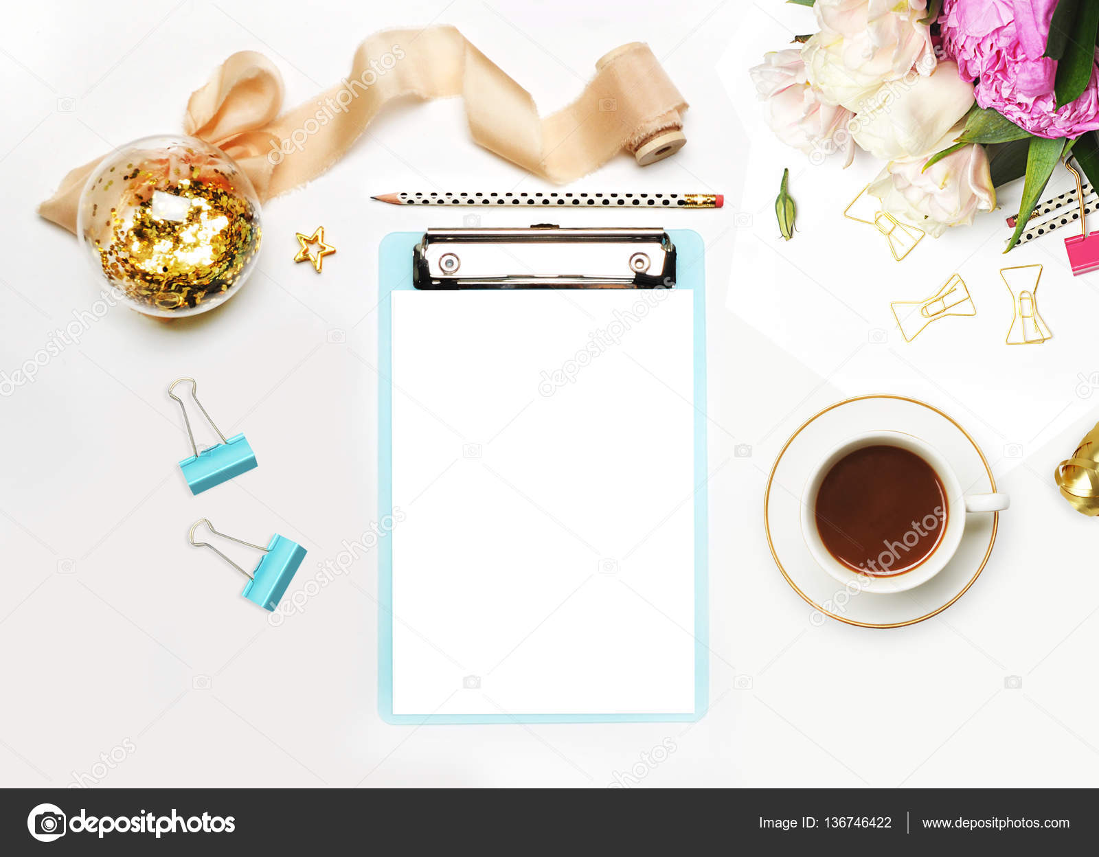 6942bd7d7d Mockup planner flat lay. Accessory on the table. View top. White  background