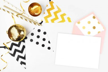 Party background. Decor table view. Flat Lay. Party mockup. Gold items