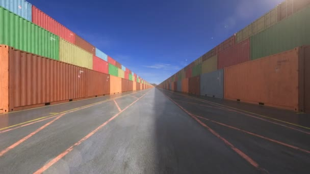 endless stacks of cargo shipping containers