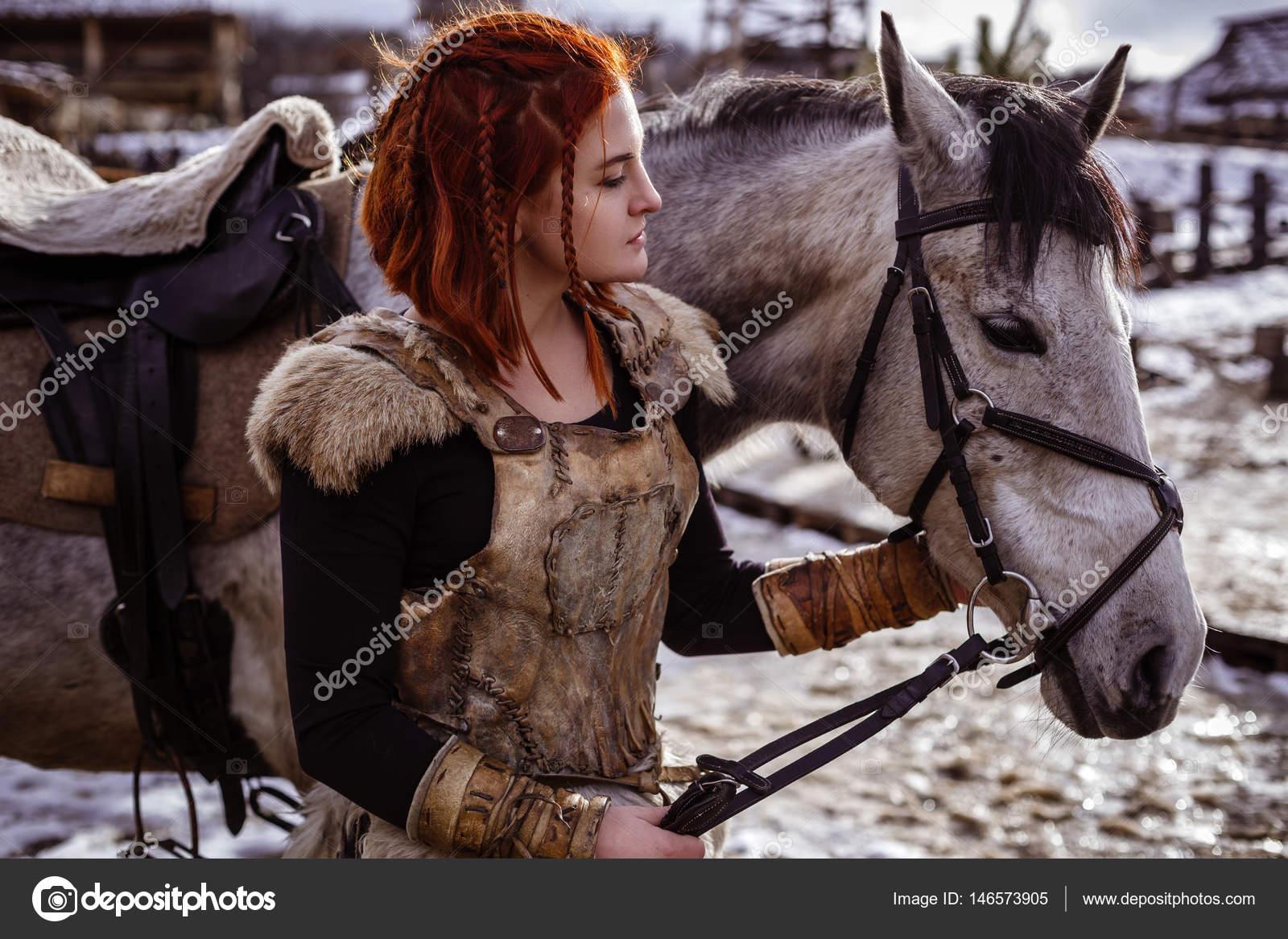 Viking Woman With Gray Horse Stock Photo C Selenittt 146573905