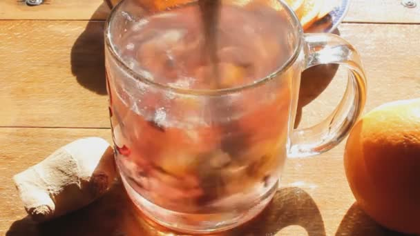 brewing herbal tea with boiling water
