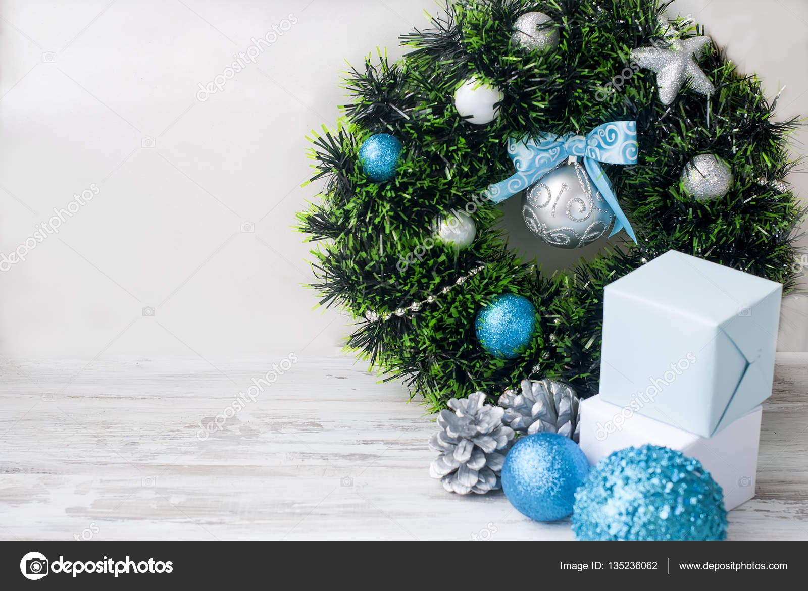 Christmas Wreath Blue Silver And White Color Stock Photo C Vi Mart 135236062