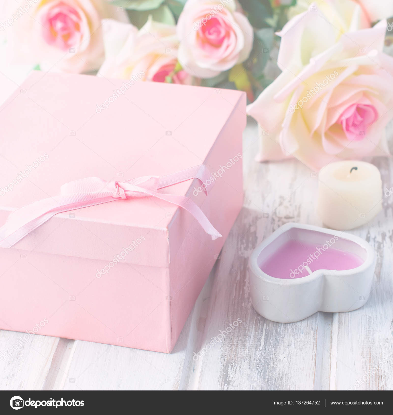 gift box, candle and a bouquet of roses — Stock Photo © vi-mart ...
