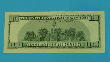 100 dollar bill, the reverse side.