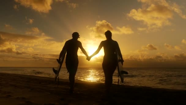 Surfer couple in silhouette holding long surfboards at sunset on tropical beach