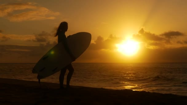 Young female surfer on the beach waiting for perfect waves at sunset
