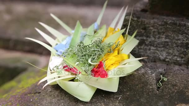 Tradiční balinéskou oběti bohům v Bali s květinami