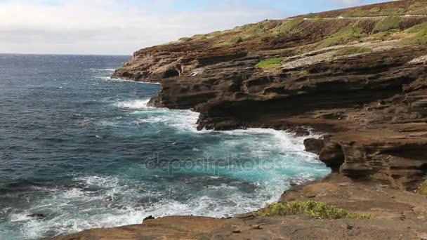 Hawaii, a sziget Oahu sziklák és a tenger, partvidék Kelet Oahu Lanai kilátó