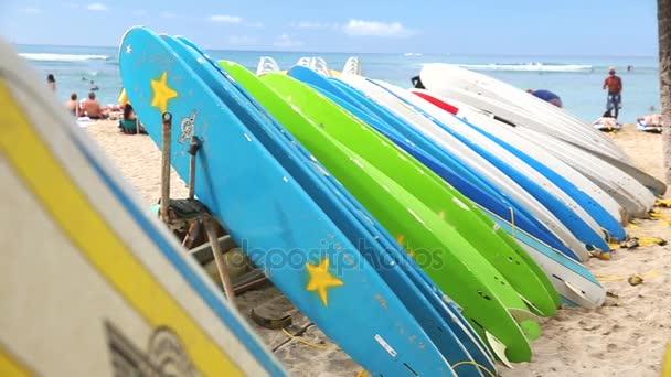 Rental surfboards at waikiki beach, hawaii