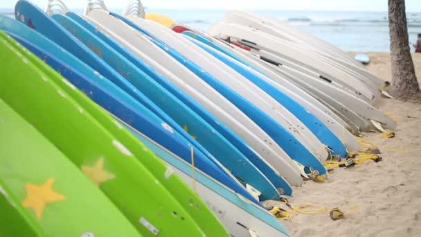 Rental surfboards at Waikiki Beach Hawaii.