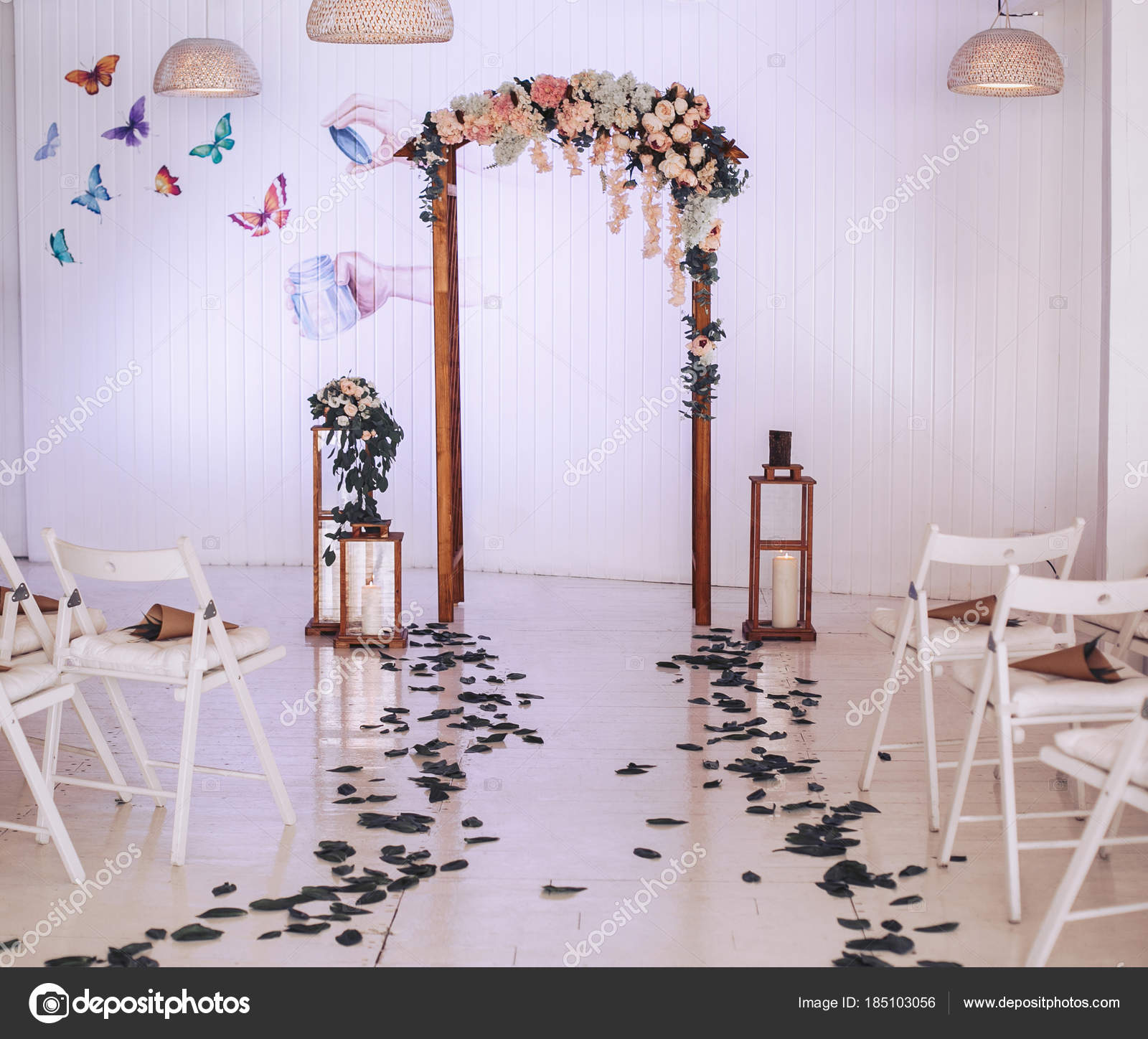 Wedding Arch Decorated With Flowers Large Candlesticks With