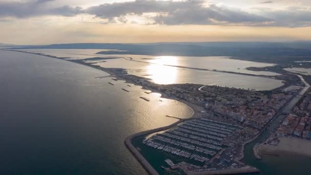 hyperlapse over palavas les flots sunset rare mediterunderground sea harbour air view france