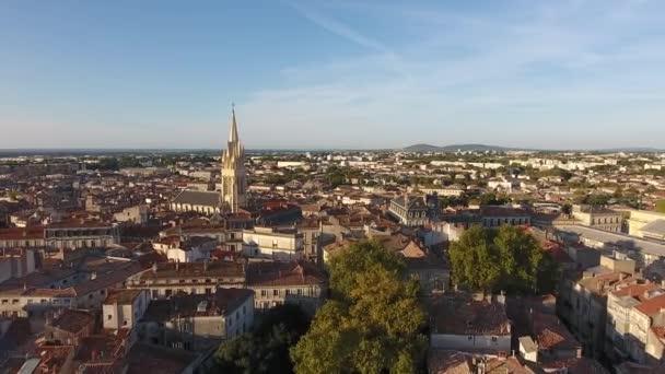 starý francouzský město montpellier ecusson by drone antény brzy ráno pohled