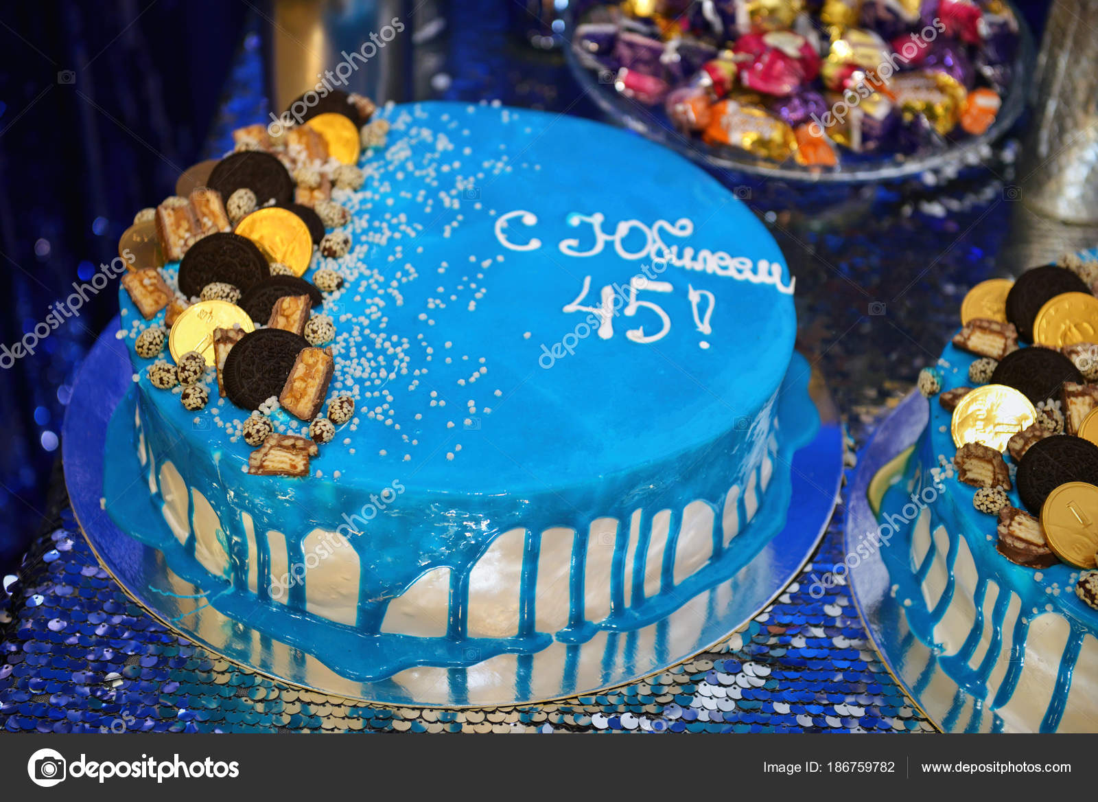 Birthday Blue Cake On A Table Stock Image
