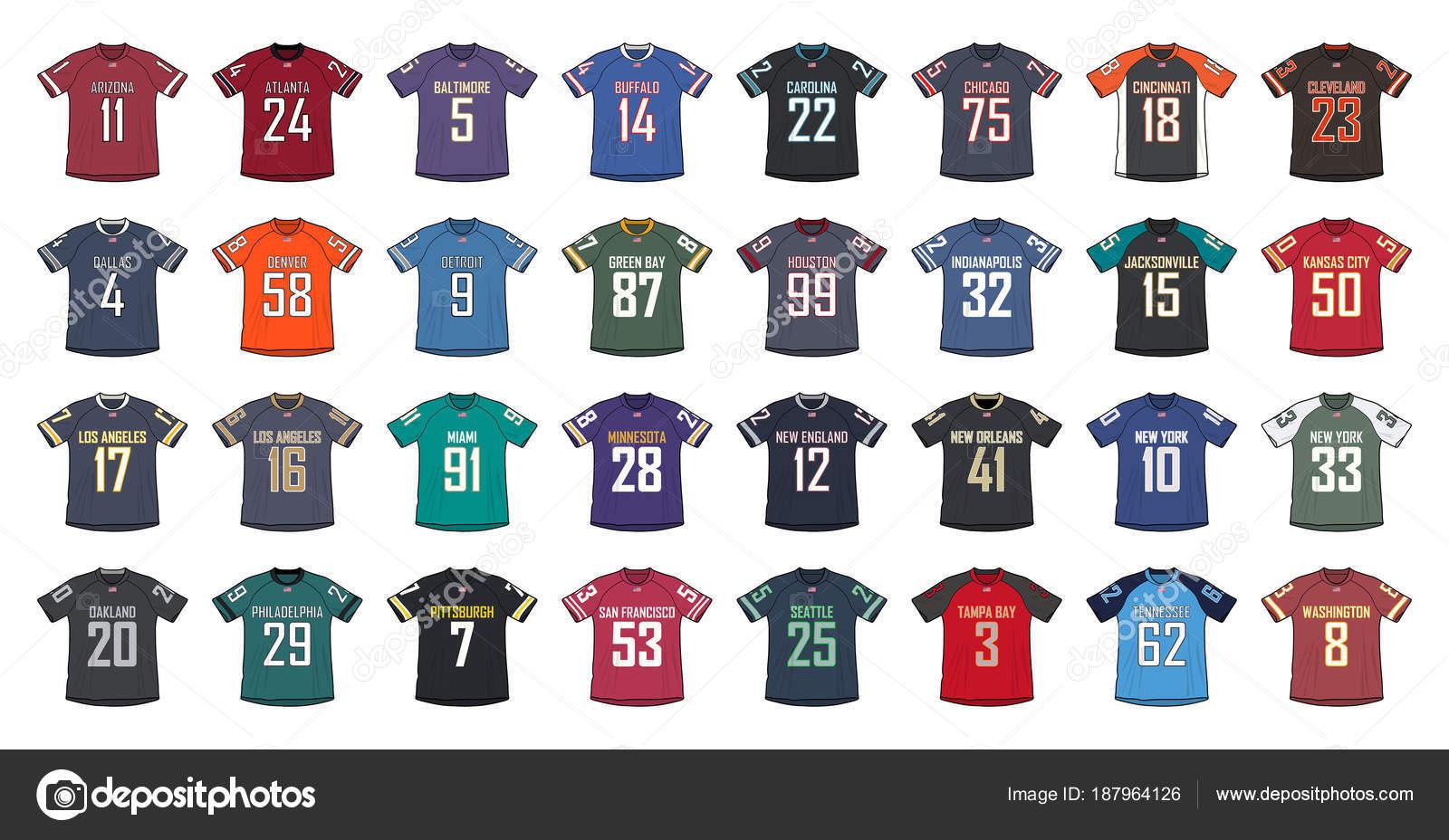 d983a223b42b3 Ilustración de camisetas genéricas del fútbol americano - diseño de playeras  de futbol americano — Vector de ...