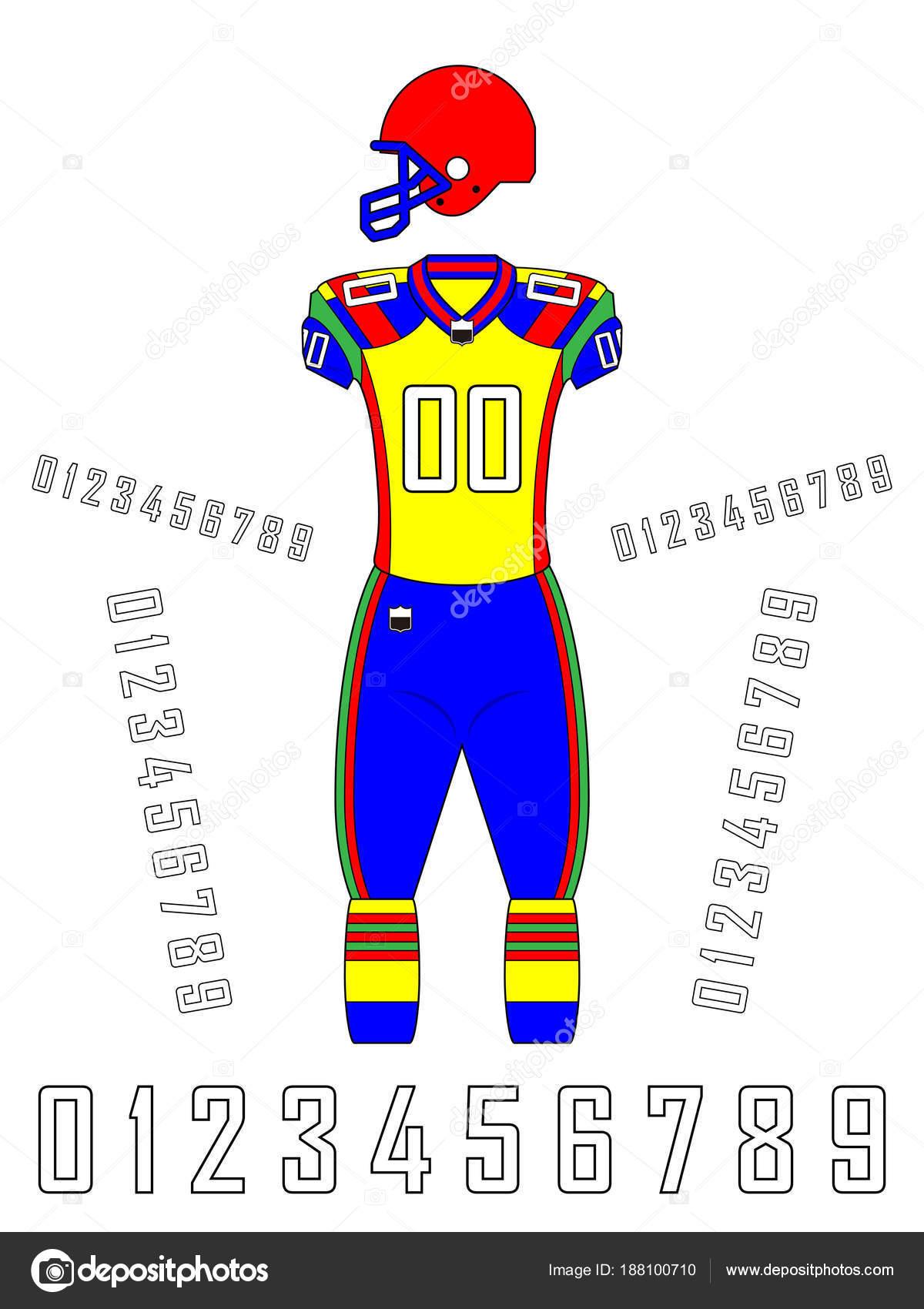 Modelo de uniformes de futebol americano — Vetores de Stock ... 6e8b8a77f01fd