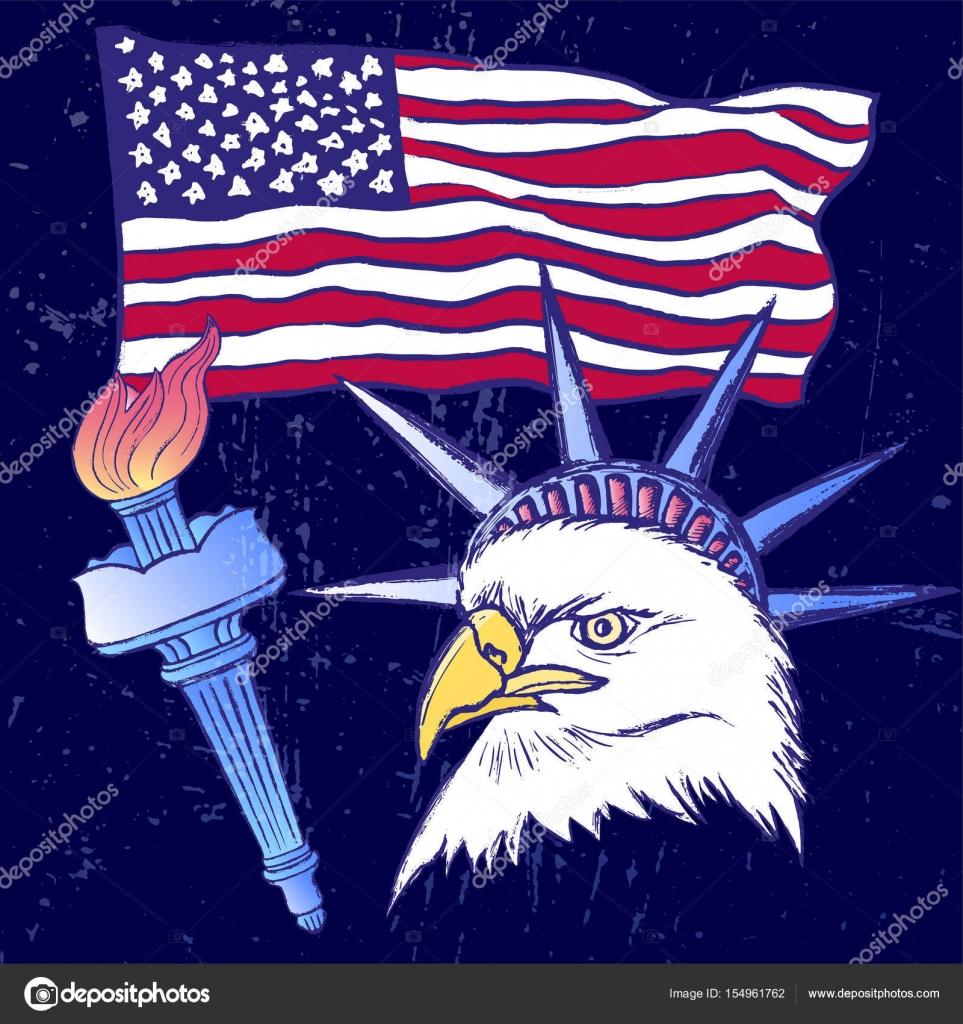 Tinte von Hand gezeichnete 4th of July mit amerikanischen Flagge ...