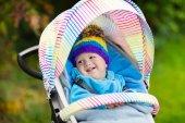 Fotografie Chlapeček v kočárku na podzim park