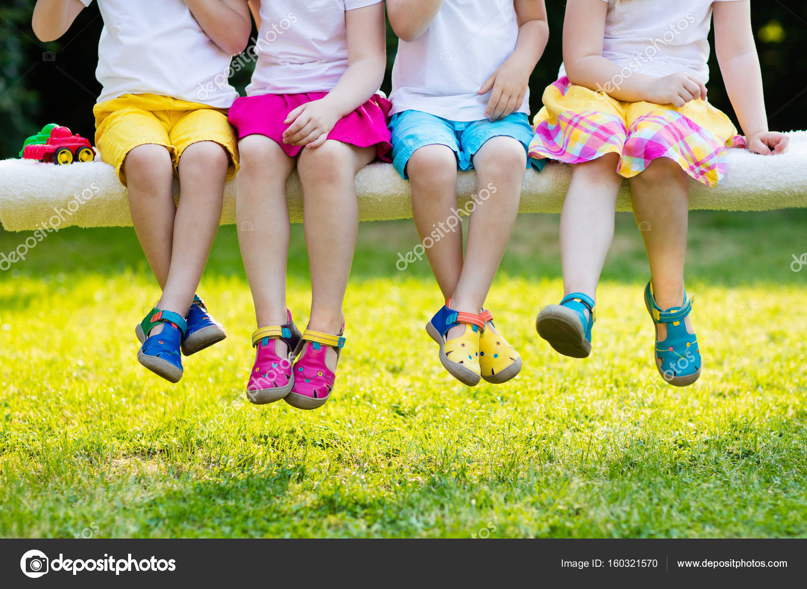 Kids With Colorful Shoes Children Footwear Stock Photo
