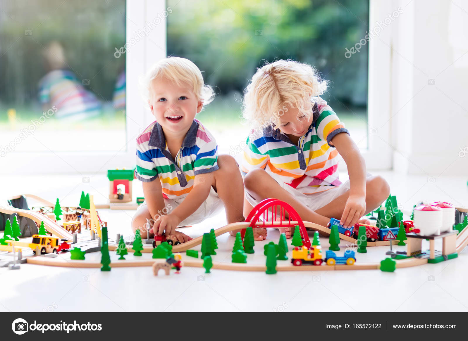 Children Play Wiht Toy Train Kids Wooden Railway Stock Photo