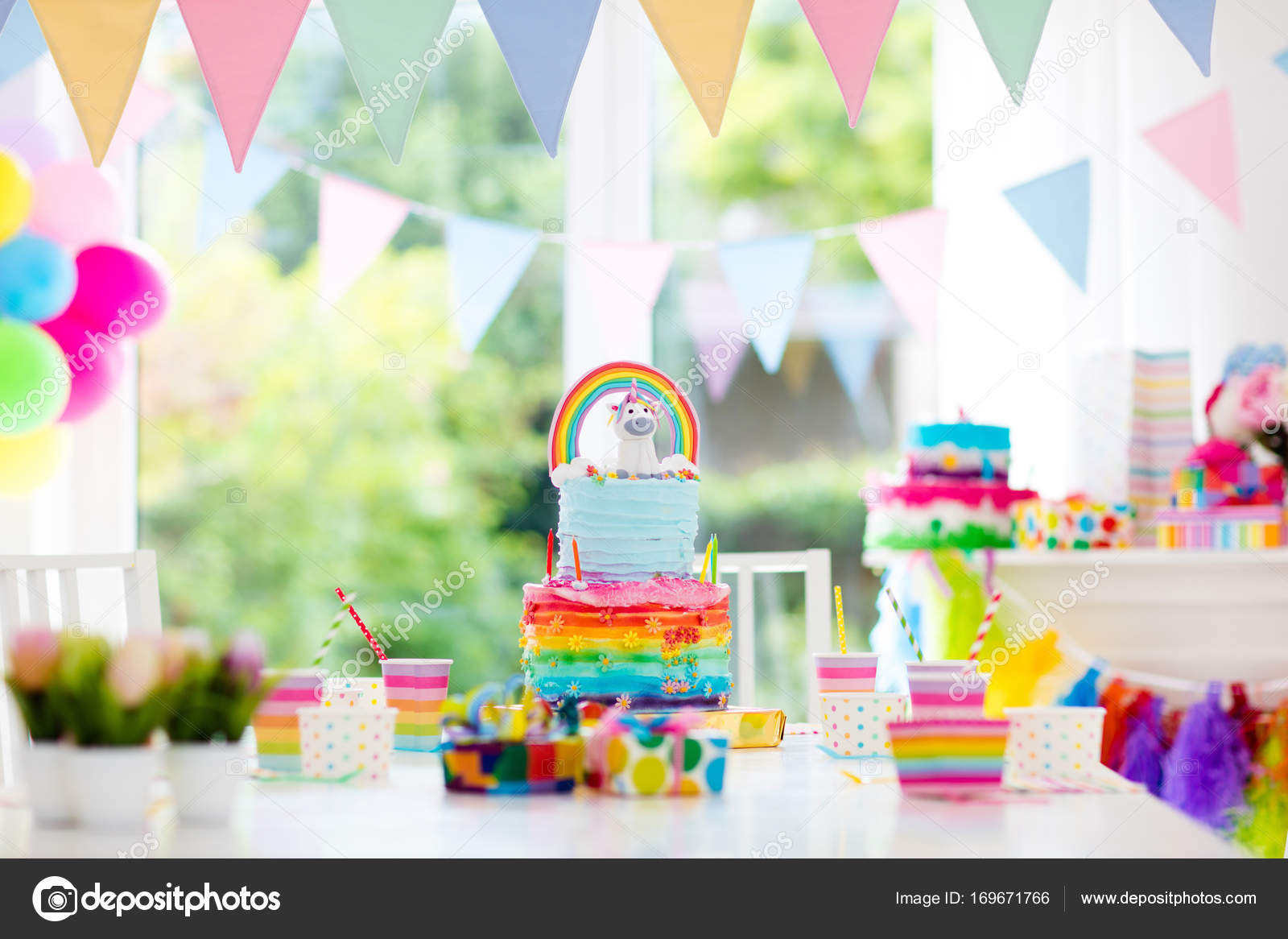 Decoraci n de fiesta de cumplea os de ni os y pastel for Cuarto unicornio nina