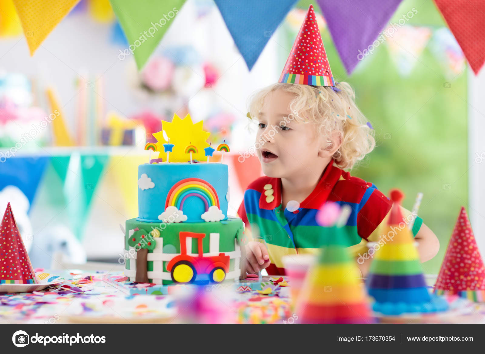 Kids Birthday Party Child Blowing Out Cake Candle Stock Photo