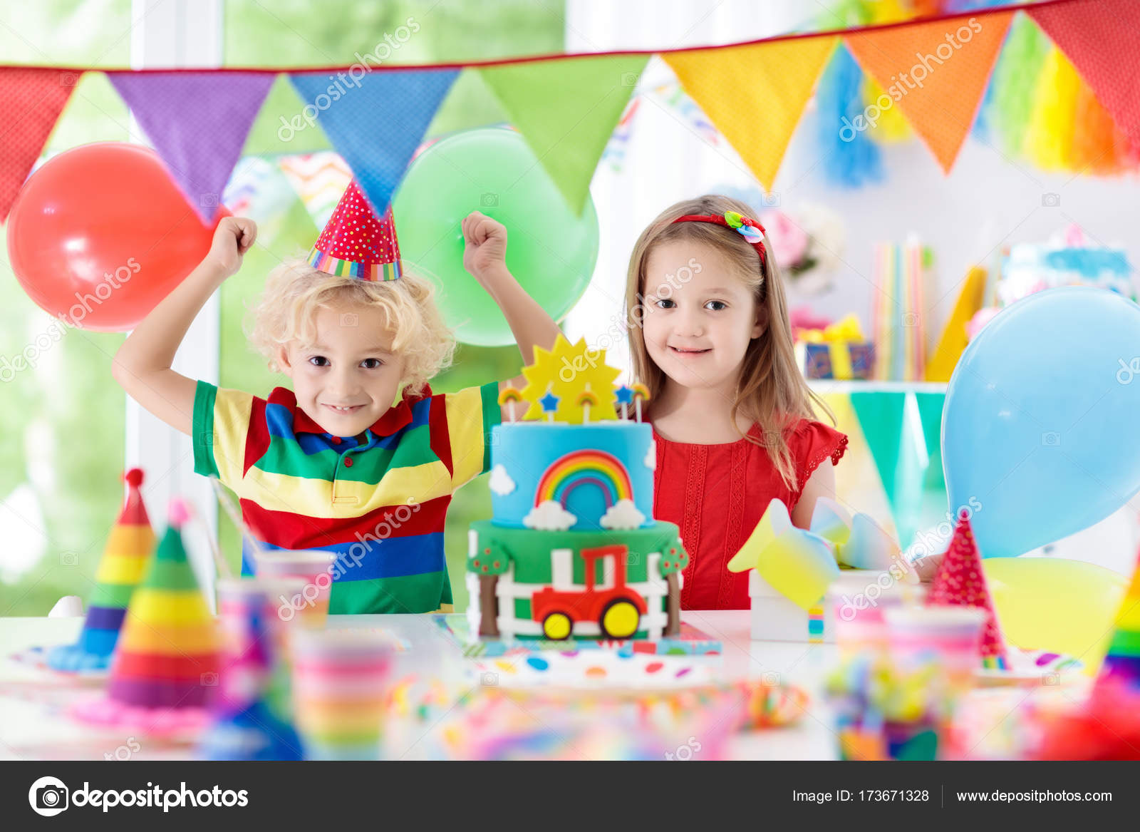 Kids Party Birthday Cake With Candles For Child Stock Photo
