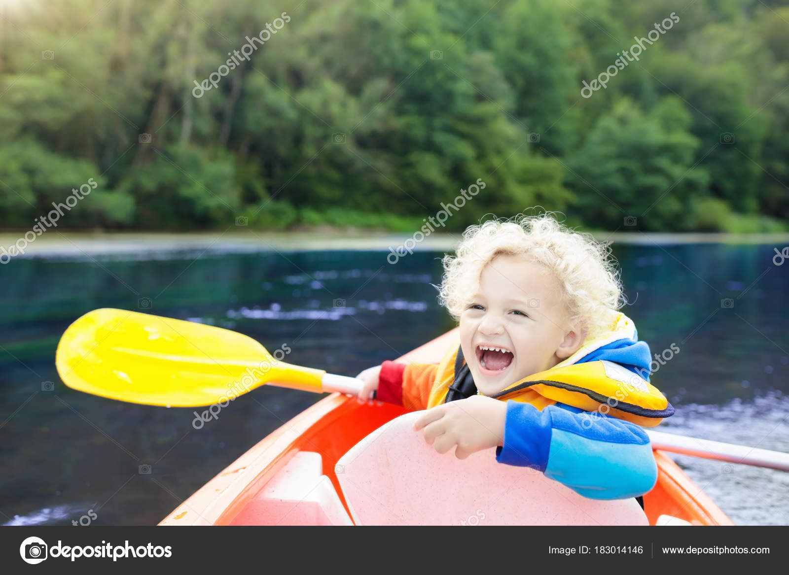 Summer Camp For Kids Kayaking And Canoeing With Family Children On Canoe Little Boy Kayak Ride Wild Nature Water Fun Vacation