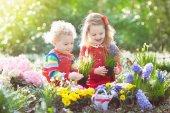 Fotografie Kinder Pflanzen- und Blumen im Frühlingsgarten