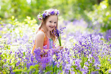 Kid in bluebell woodland. Child with flowers, garden tools and wheelbarrow. Girl gardening. Children play outdoor in bluebells, pick blue bell flower bouquet. Family fun in summer forest. stock vector