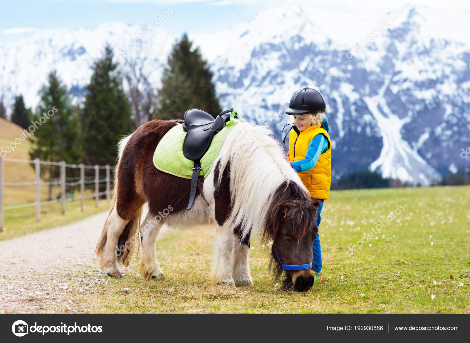 子供たちはポニーに乗る アルプスの山々 の中の馬の子 ストック写真