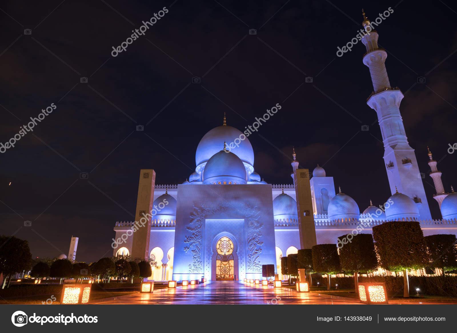 Mezquita Sheikh Zayed Grand Centro Abu Dhabi Iluminada Por