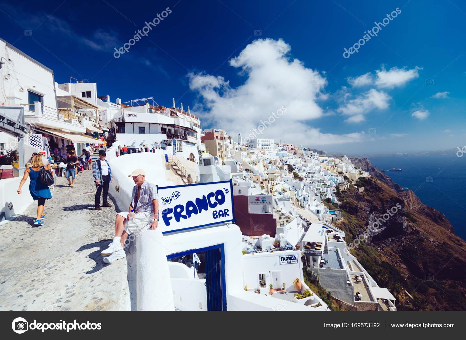 Griechenland Santorini 1 Oktober 2017 Menschen Auf Den Engen
