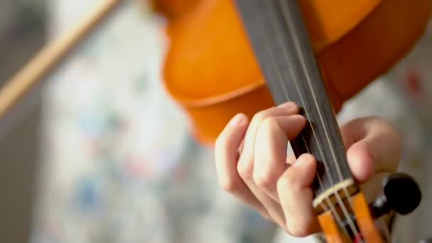 Fiatal nő hegedül. Zenész kezek, közelről. Előnézet