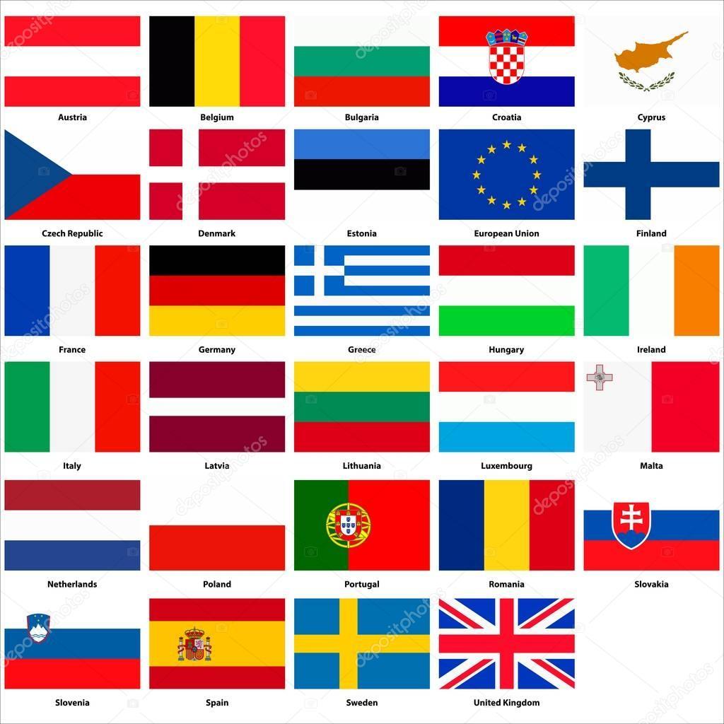 alle flaggen der länder der europäischen union
