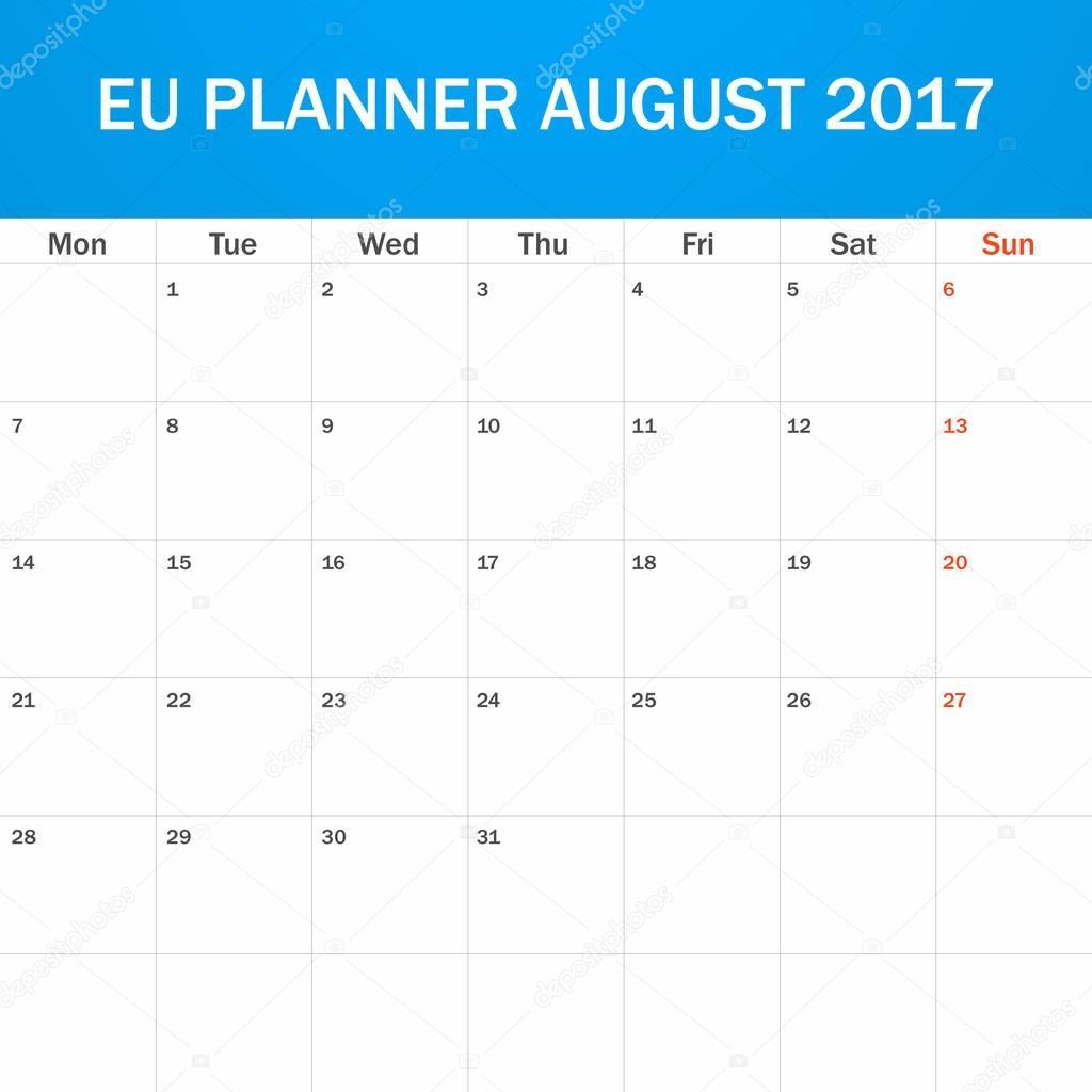 EU-Planer für August 2017 leer. Scheduler, Agenda oder Tagebuch ...