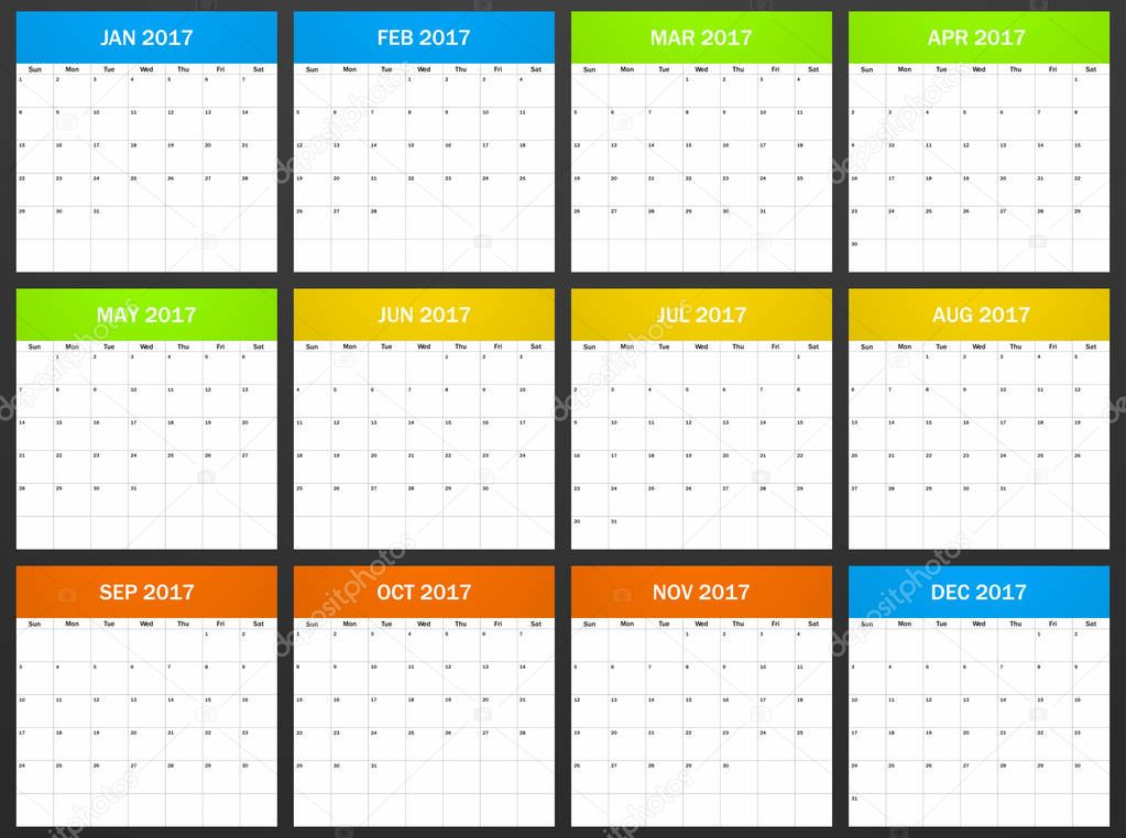 USA Planner Blank For 2017 Scheduler Agenda Or Diary Template