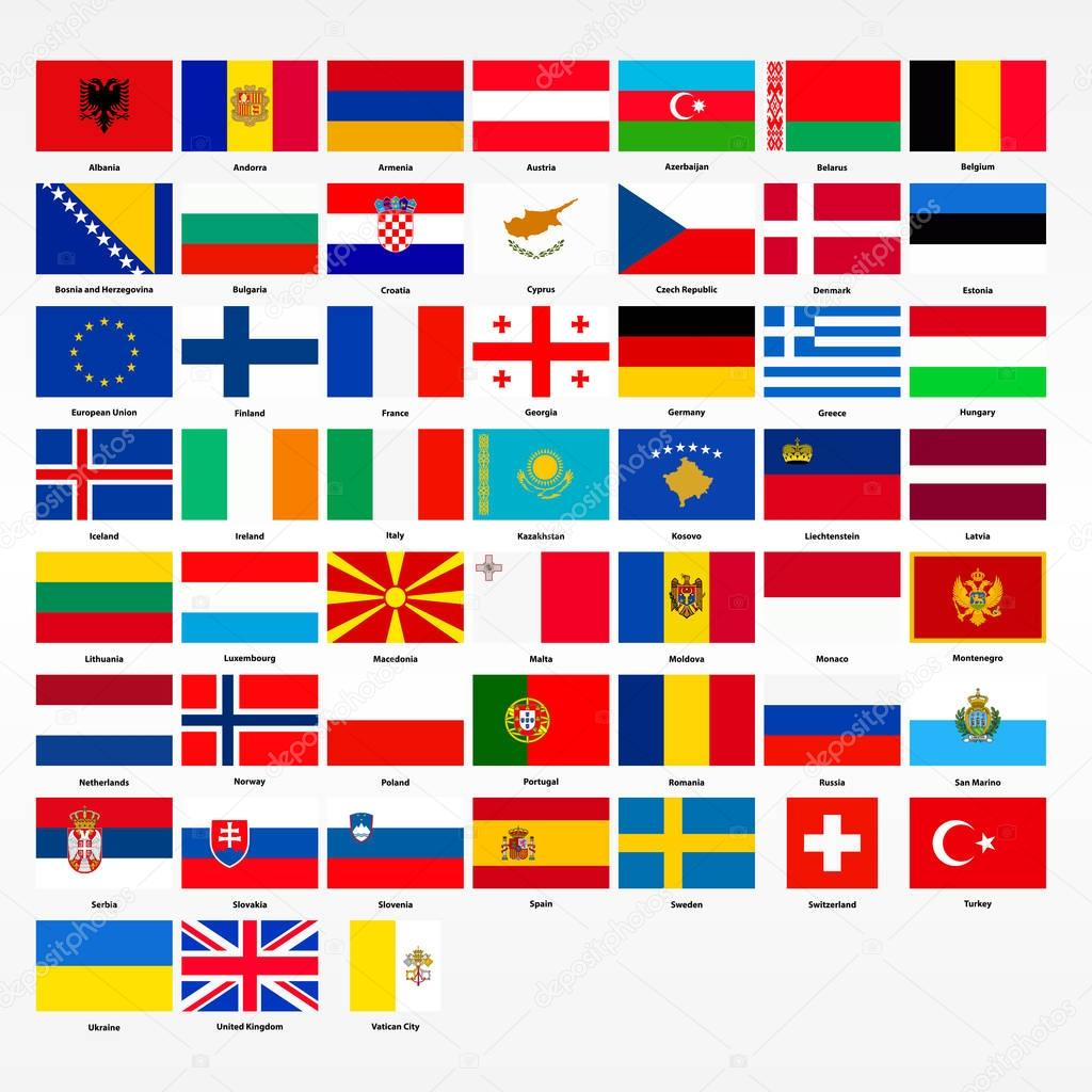 set vlaggen alle landen europa stockvector