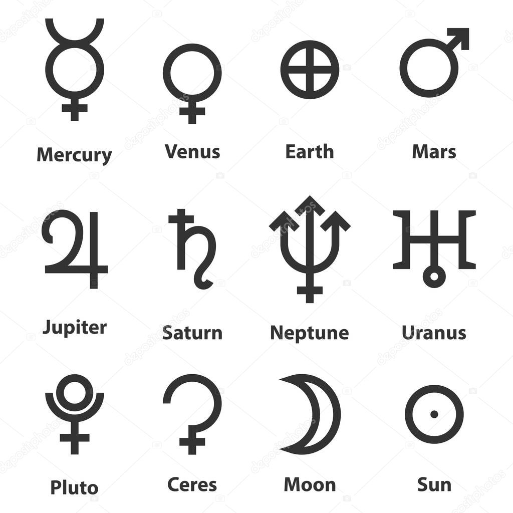 Zodiac And Astrology Symbols Of The Planets Stock Vector Panya