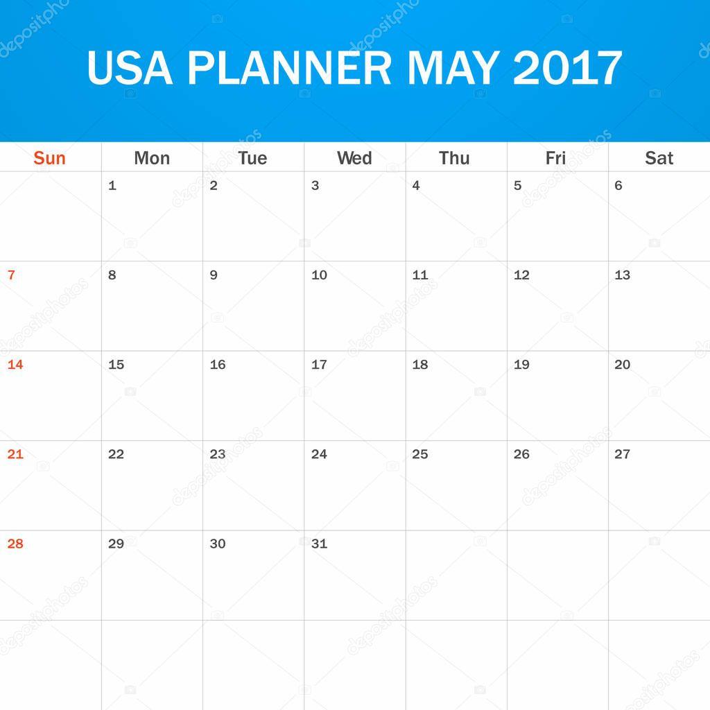 USA-Planer für Mai 2017 leer. Scheduler, Agenda oder Tagebuch ...