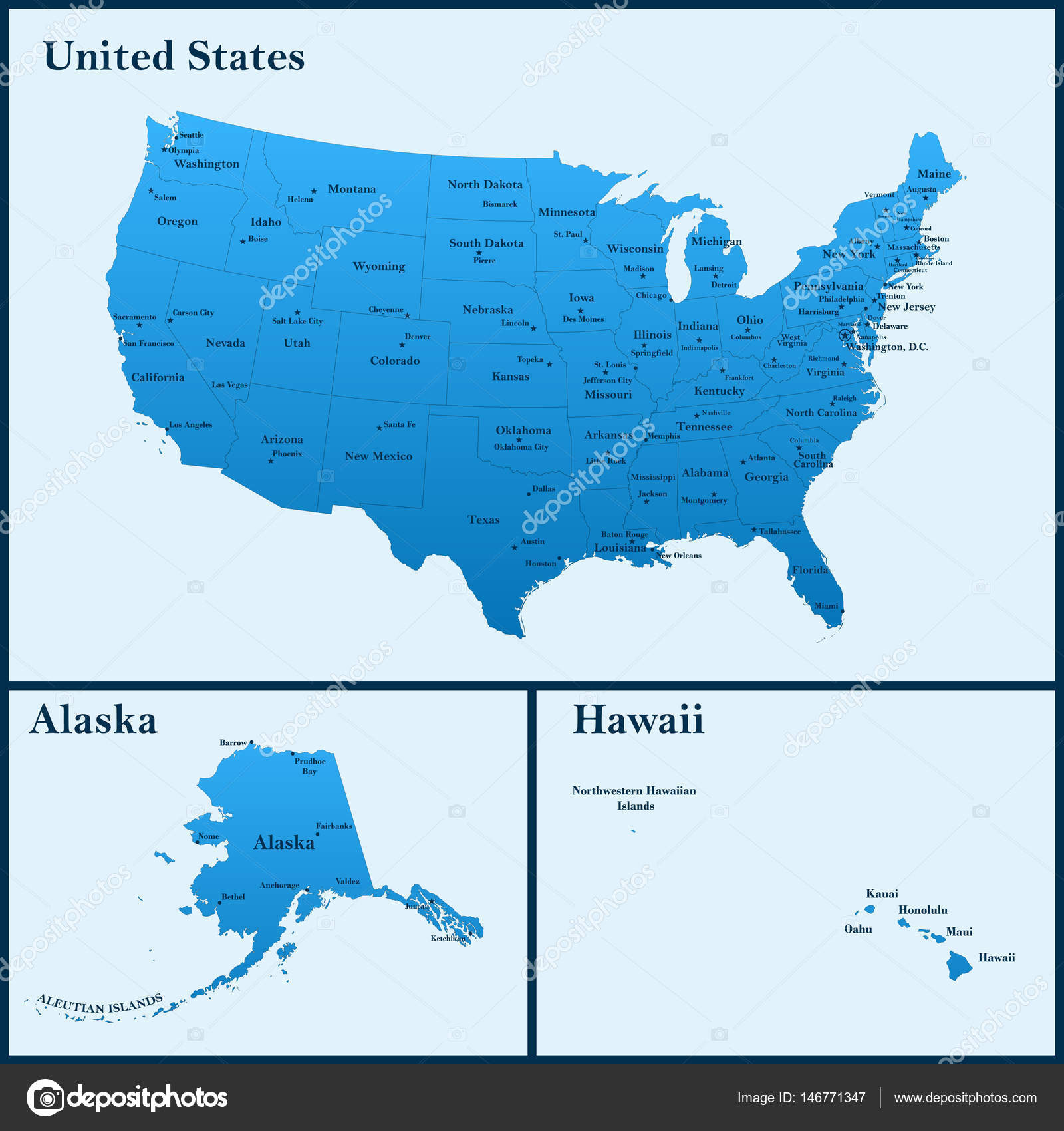 The detailed map of the USA including Alaska and Hawaii. The United ...