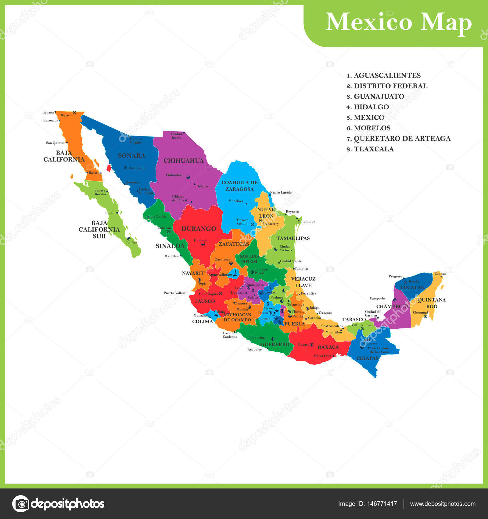 The detailed map of the Mexico with regions or states and cities ...